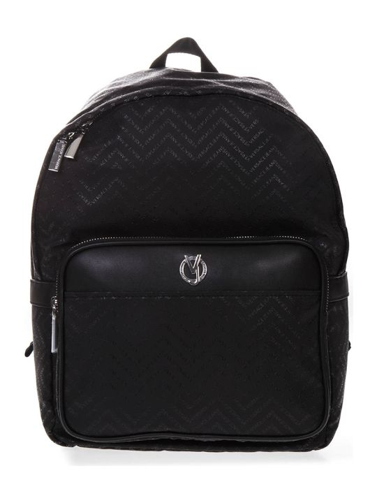 Versace Black Fabric And Faux Leather Backpack