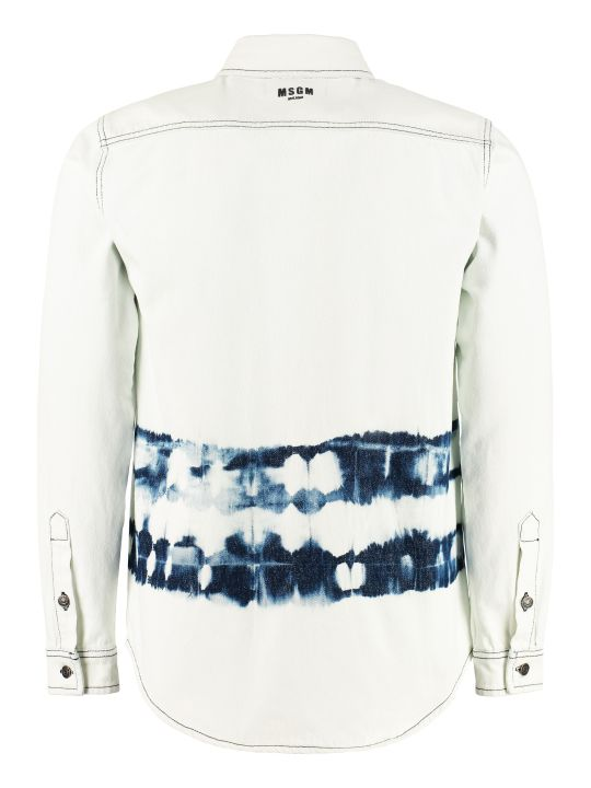 MSGM Bleached Effect Denim Shirt