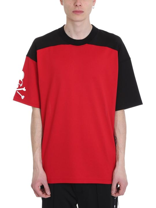 MASTERMIND WORLD Oversize Bicolor Cotton Black And Red T-shirt