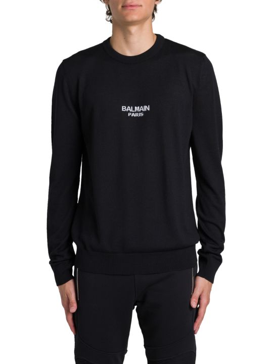 Balmain Crewneck Pull With Logo Intarsia