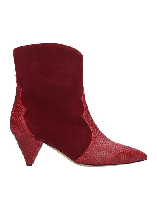 The Seller Ankle Boots In Red Suede And Leather