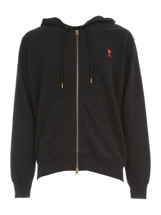 Ami Alexandre Mattiussi Zipped Sweatshirt W/hood And Logo Patch