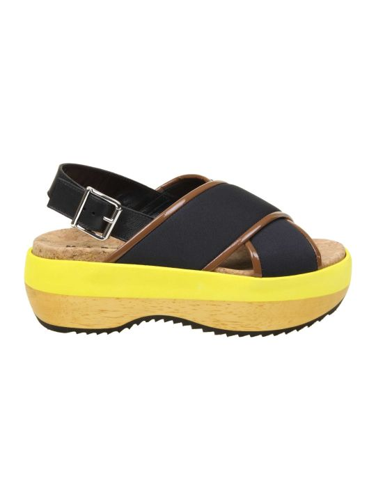 Marni Sandal In Technical Fabric Color Black