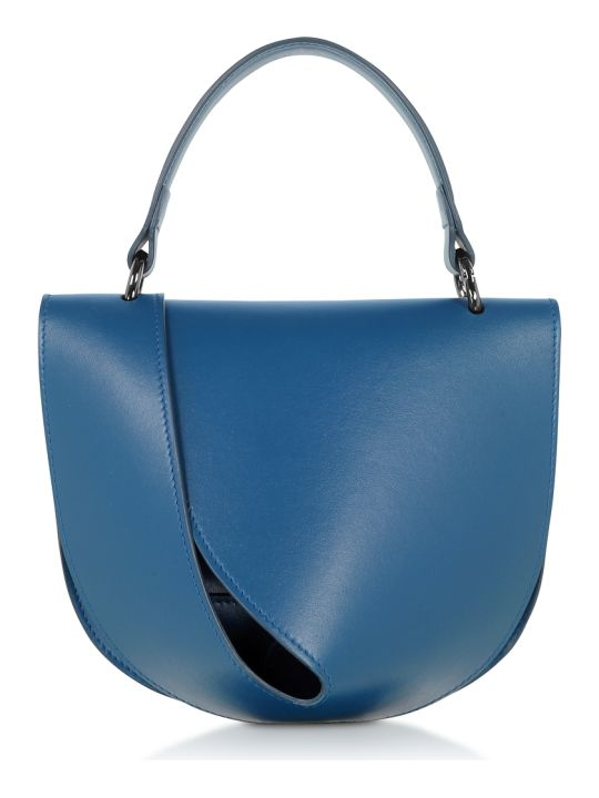 Giaquinto Petrol Blue Leather Candy Saddle Shoulder Bag