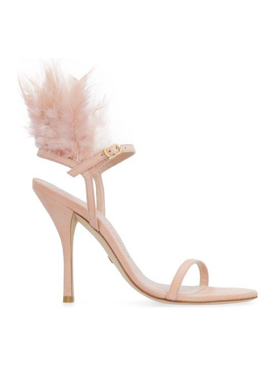 Stuart Weitzman Ricki Feathers Suede Sandals