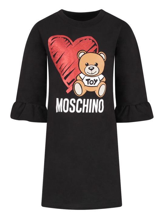 Moschino Black Girl Dress With Teddy Bear And Heart