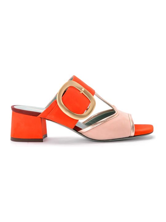 Paola D'Arcano Tory Pink And Coral Suede Sandal.