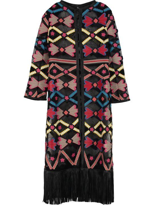 Caban Romantic Floral Pattern Dust Coat