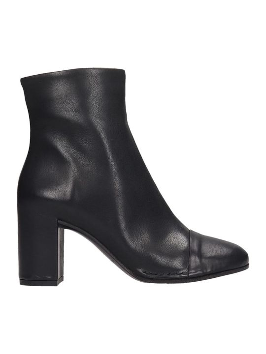 Del Carlo High Heels Ankle Boots In Black Leather