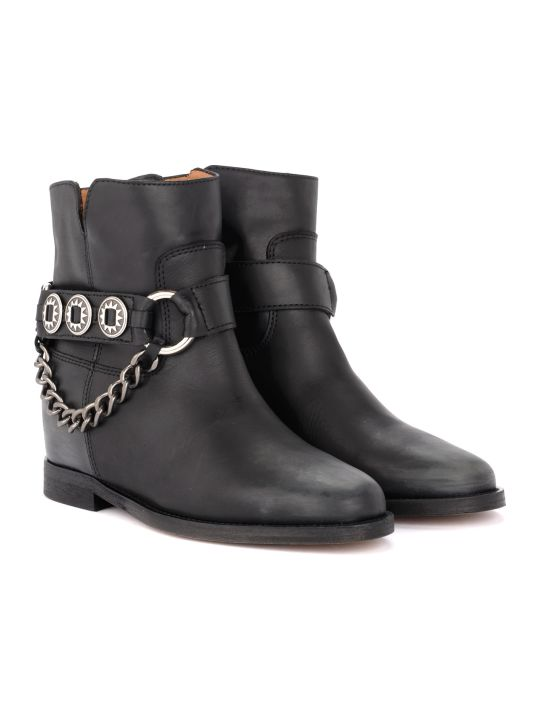 Via Roma 15 Black Leather Boot With Side Accessory