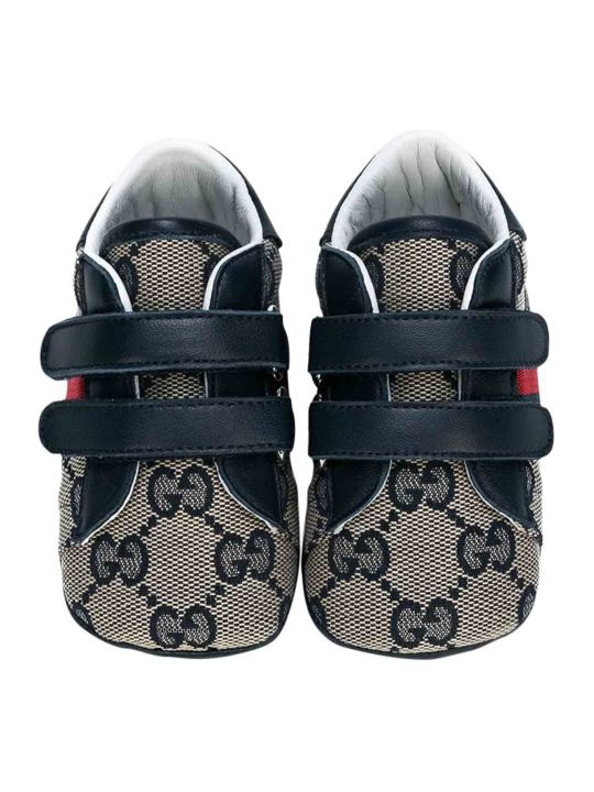 Gucci Black Sneakers With Logo Press And Multicolor Details