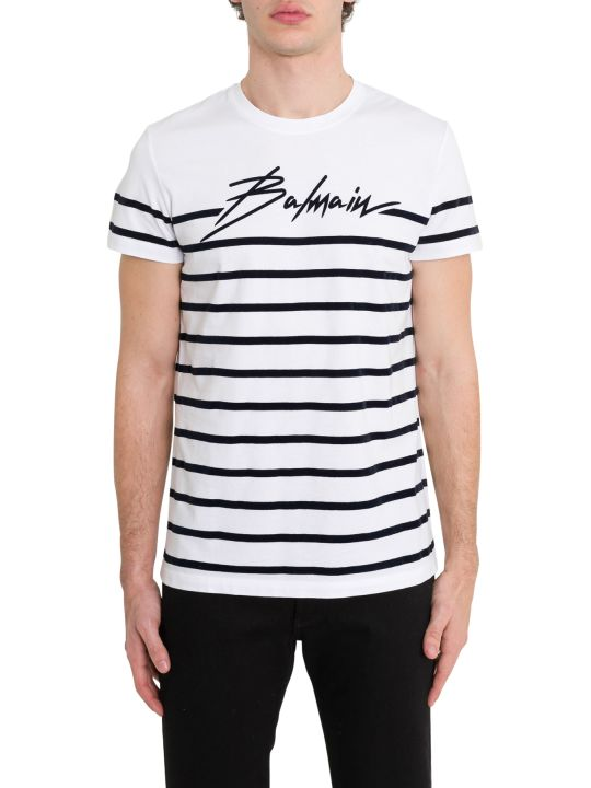 Balmain Striped Logo Tee