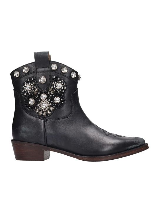 Coral Blue Texan Ankle Boots In Black Leather