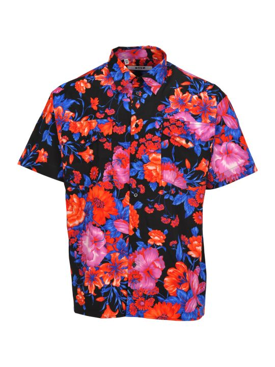 MSGM Shirt Flower Print Base Bianca