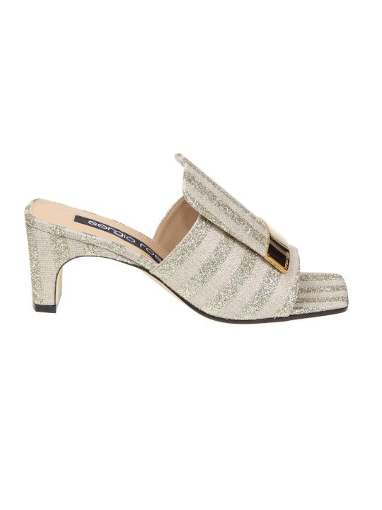 Sergio Rossi Sabot In Laminate Mules Fabric Platinum Color