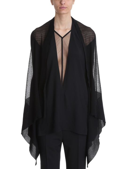 Rick Owens Medium Wrap Black Ribbed Cardigan