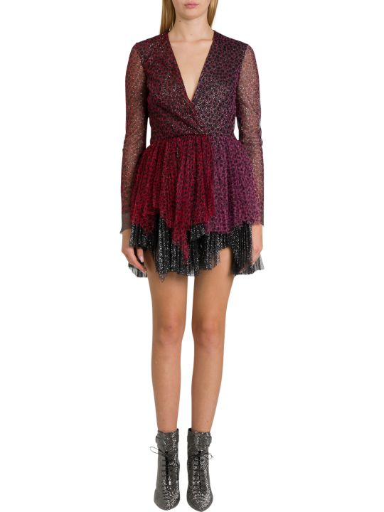 Philosophy di Lorenzo Serafini Tulle Minidress With Leopard Motif And Flounces