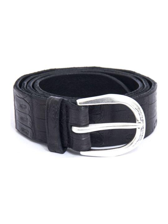 Orciani Black Leather Belt