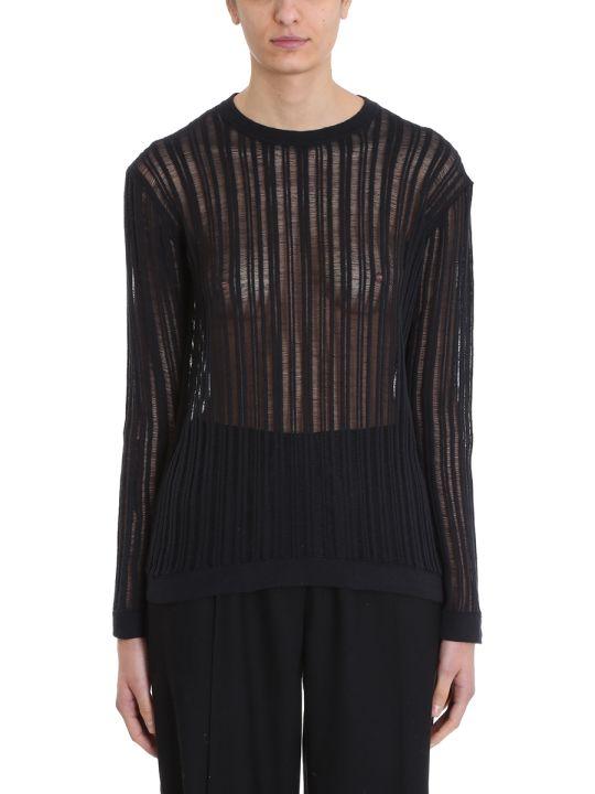 Maison Flaneur Knit Black Cotton Sweater