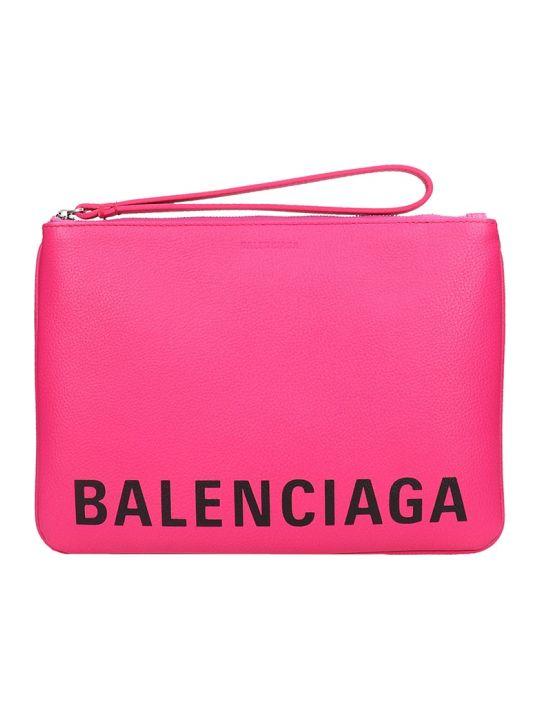 Balenciaga Cash Holder Clutch In Fuxia Leather