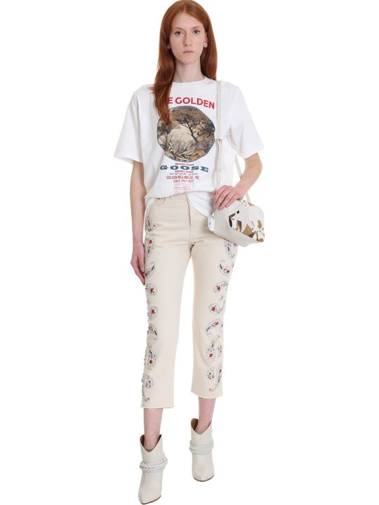Golden Goose Texas Jeans In Beige Denim