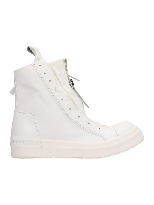Cinzia Araia White Leather High Top Sneakers