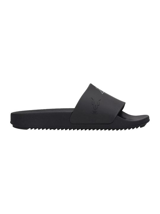 DRKSHDW Rubber Sliders Flats In Black Rubber/plasic