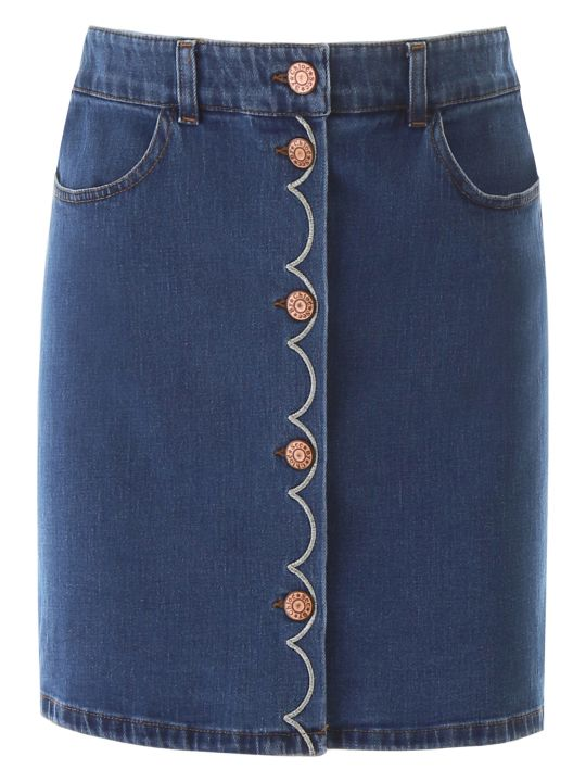 See by Chloé Denim Skirt With Scallop Embroidery