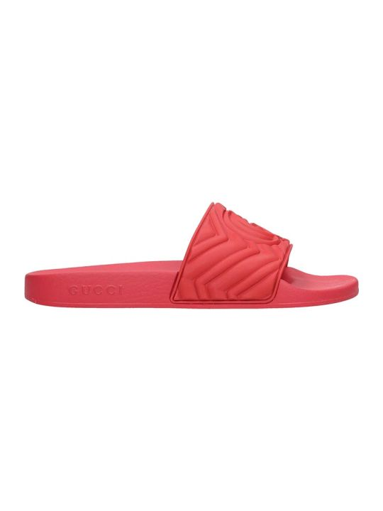 Gucci Slider Flats In Red Rubber/plasic