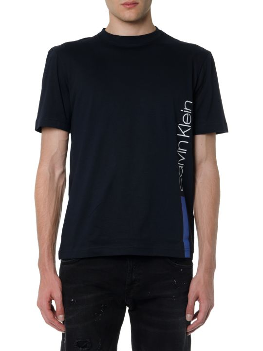 Calvin Klein Navy T Shirt In Cotton With Side Logo Print