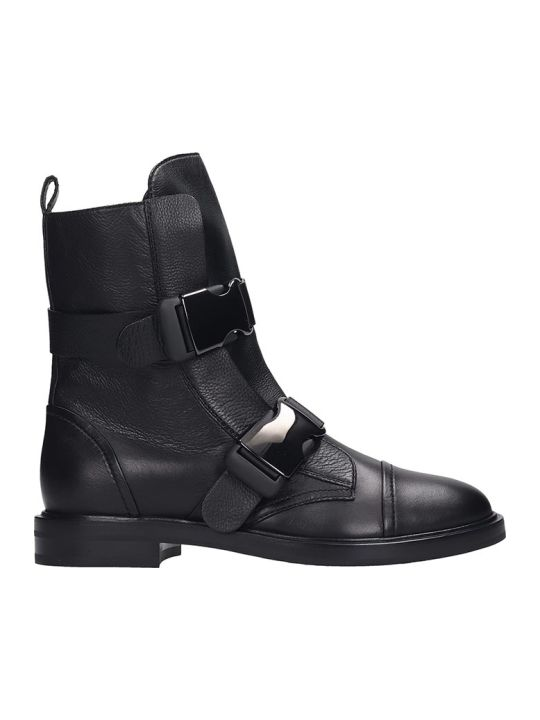 Casadei Combat Boots In Black Leather