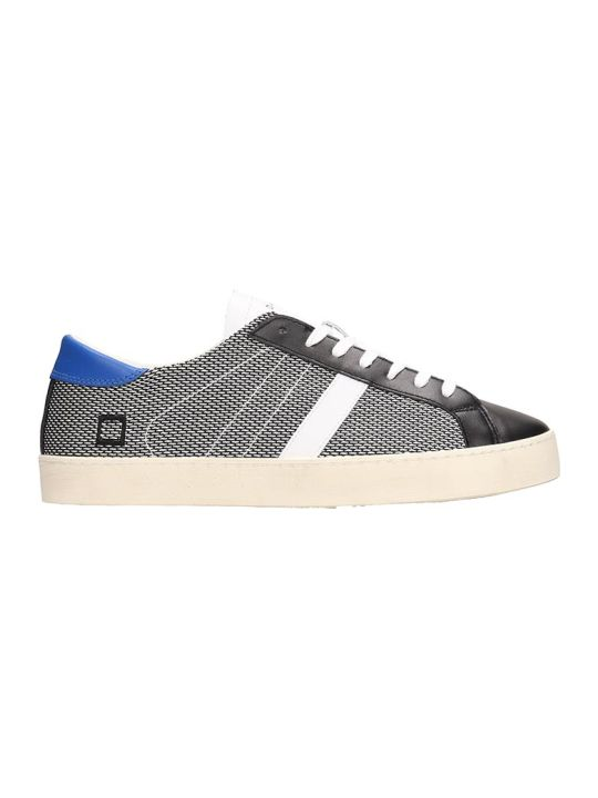 D.A.T.E. Black And White Leather Hill Low Sneakers