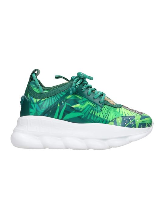 Versace Chain Reaction Sneakers In Green Tech/synthetic