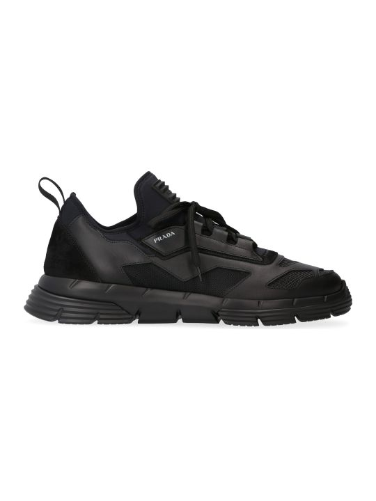 Prada Leather And Fabric Low-top Sneakers