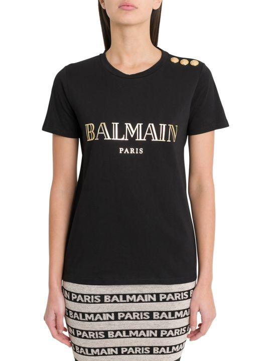 Balmain Logo T-shirt Wqith Golden Logo And Buttons