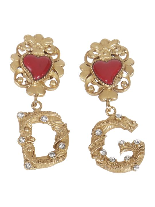 Dolce & Gabbana Embellished Logo Detail Earrings