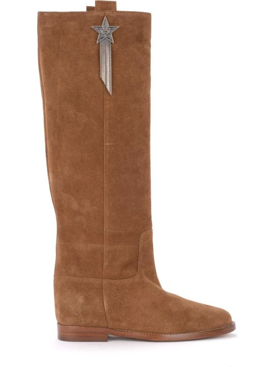 Via Roma 15 Boot With Brown Suede Star