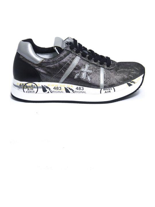 Premiata Conny Sneaker In Gray Laminated Leather.