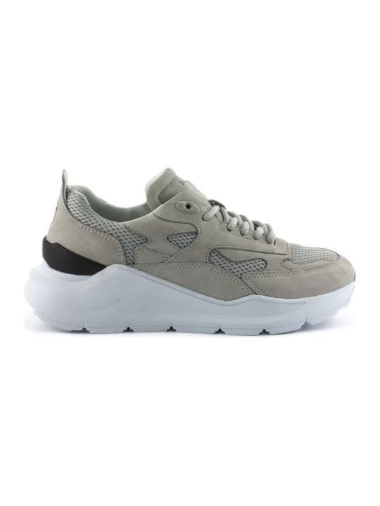 D.A.T.E. Running Sneakers In Grey Nubuck Leather