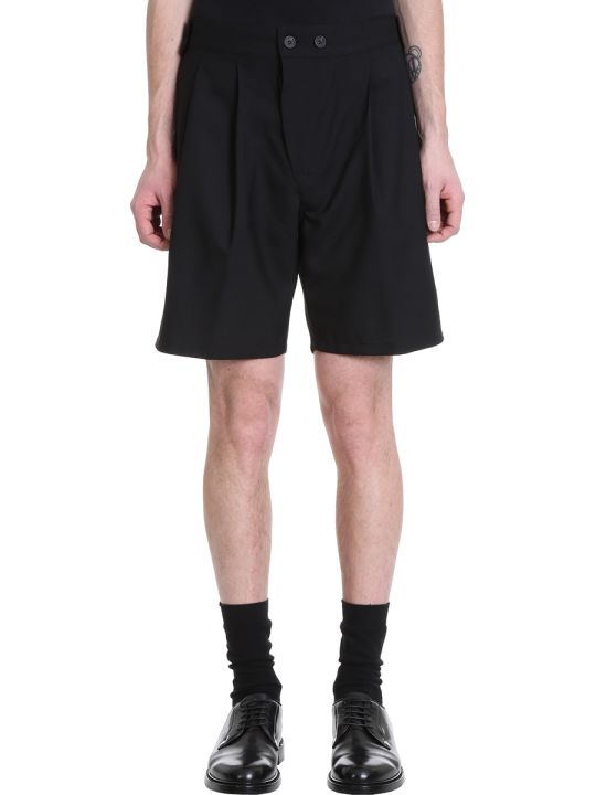 Maison Flaneur Black Wool Shorts