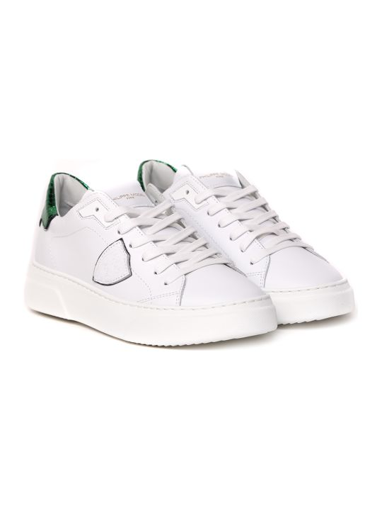 Philippe Model Temple S Sneakers In White And Green Leather