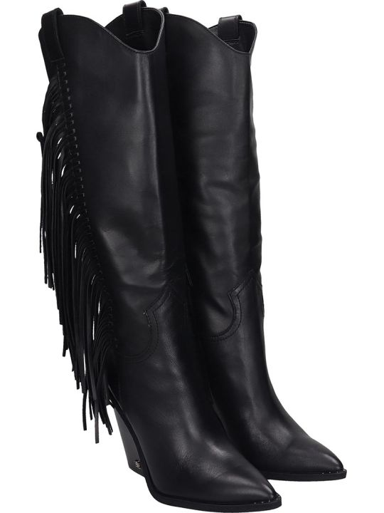 Sam Edelman Imari  Texan Boots In Black Leather