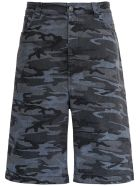 Balenciaga Camouflage Denim Bermuda Shorts - Grey