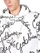 Dolce & Gabbana Sweatshirt With All Over Rubber Logo - BIANCO