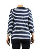 Saint James Galathee Ii Navy Blue White T-shirt 3/4 Sleeves - Blu