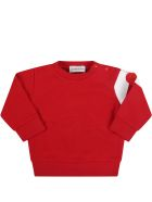Moncler Red Tracksuit For Baby Kids With Patch - Red