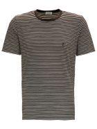 Saint Laurent Striped Cotton T-shirt With Logo - Brown