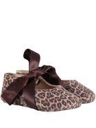 Gallucci Beige Ballerina Flats For Babygirl - Brown