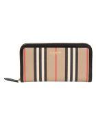 Burberry Elmore Icon Stripe Zip-around Wallet - Archive Beige