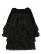 Douuod Black Cotton Ruffled Dress - Pois Nero